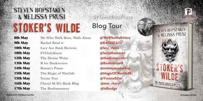 A list of the blogs taking part in the blog tour from May 8-17 set against a speckled black-and-white background with the demonic figure from the book cover. Also included are an image of the book and a photo of the authors. The blogs in chronological order are: We Who Walk Here, Rachel Read It, Lacy Ace Book Reviews, FUOnlyKnew, The Divine Write, B for Bookreview, Bunny's Pause, The Magic of Wor(l)ds, Terror Tree, Cheryl M-M's Book Blog, and The Bookwormery.