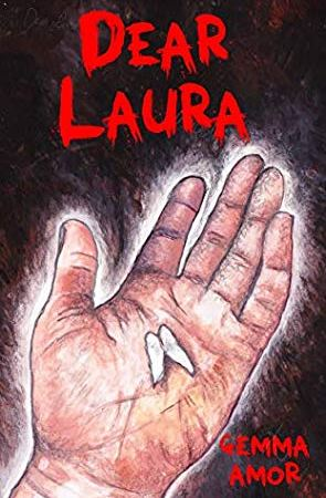 "Image: A white hand is open with a tooth lying in the palm. The background is black, with red text reading: ""Dear Laura. Gemma Amor."""