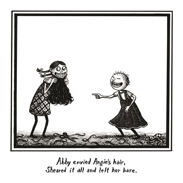 Image: Black and white illustration of a young girl with pigtails standing next to a young bald girl. There are scissors and strands of hair on the ground. The girl with pigtails holds the other girl's hair up to her chin like it is a beard as the bald girl points and laughs.