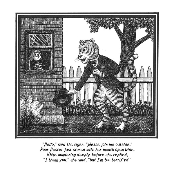 Image: Black and white illustration of a large tiger wearing a suitcoat and bowtie bowing in front of a frightened little girl looking out the window of a brick house.