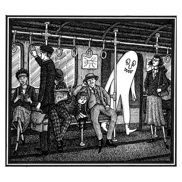 Image: Black and white illustration of several adults and one little girl in a subway car. A large white monster enters the car as the little girl looks on in alarm.