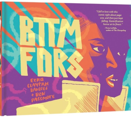 "A Black woman wearing a yellow coat stands in quarter profile. She is lit in purple and orange, with green and yellow text beside her reading ""BTTM FDRS."""