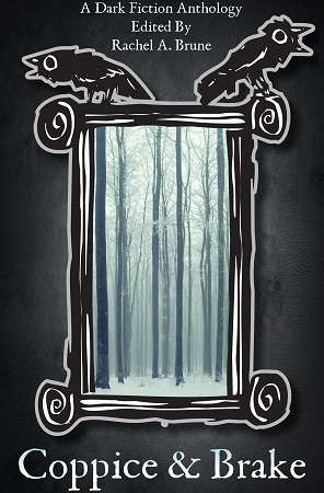 "Image: A black and white frame sits around an image of tall, bare trees in a snowy forest. Text: ""A Dark Fiction Anthology Edited By Rachel A. Brune. Coppice & Brake."""