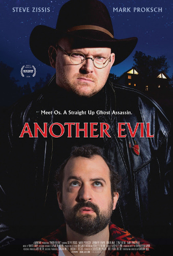 Image: Movie poster for Another Evil. Two men face the viewer; one with a hat and glasses stares straight out, while the other looks worriedly up at the other man.