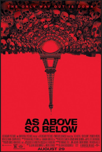 Image: Movie poster for As Above, So Below. Skulls emanate from the bottom of the Eiffel Tower, which is inverted against a red background.