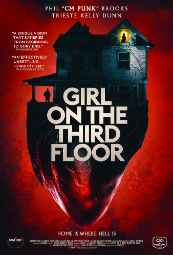 Image: Movie poster for Girl on the Third Floor. A shadowy house sits against a red background; below the house is the bottom half of a human heart.