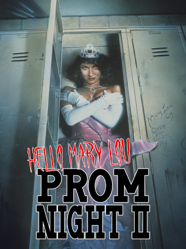 Image: Movie poster for Hello, Mary Lou: Prom Night II. A woman wearing a prom dress, gloves, and a tiara stands in an open locker with her arms crossed, staring down at the viewer menacingly.