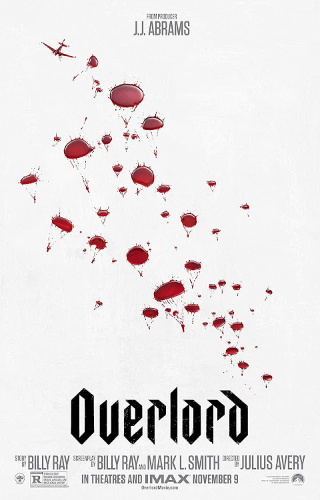 Image: Movie poster for Overlord. Red parachutes spill out of a small red plane against a white background; the parachutes resembles blood drops.