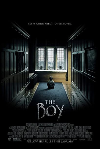 Image: Movie poster for The Boy. A small figure sits in a carpeted hallway gazing out of a large window; wood-paneled walls sit on either side of the figure.