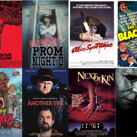 Image: A photo collage of 8 movie posters: As Above, So Below; Hello Mary Lou: Prom Night II; Alice, Sweet Alice; The Black Cat; Tammy and the T-Rex; Another Evil; Next of Kin; and Halloween.