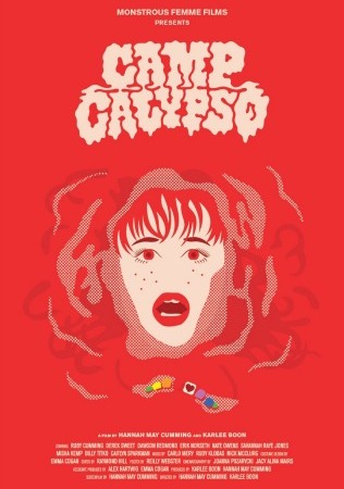 Image: A red film poster for CAMP CALYPSO featuring a woman's face surrounded by water with beads floating underneath her.