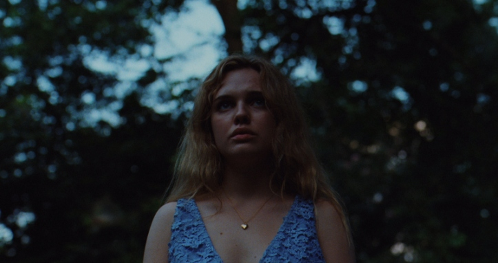 Image: A teen girl with light skin, blonde hair, and a blue dress stands in a forest. She faces the camera and looks toward the horizon.