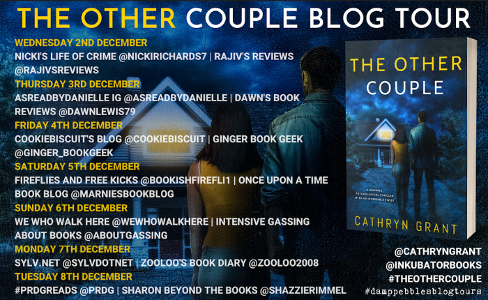 Image: The book cover with a list of blogs hosting reviews and features from December 2 through December 8.