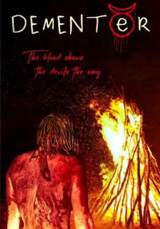 "Image: A nude woman covered in blood stands with her back to the viewer. She faces a raging bonfire at nigh. White text against a black background reads, ""Dementer."" Red text against a black background reads, ""The blood shows the devils the way."""